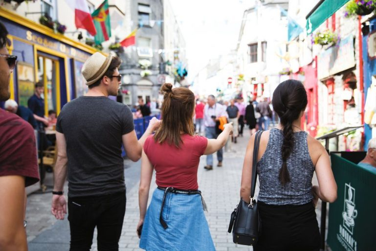 Galway City Sample Itinerary with Group taking a tour in Galway City Centre