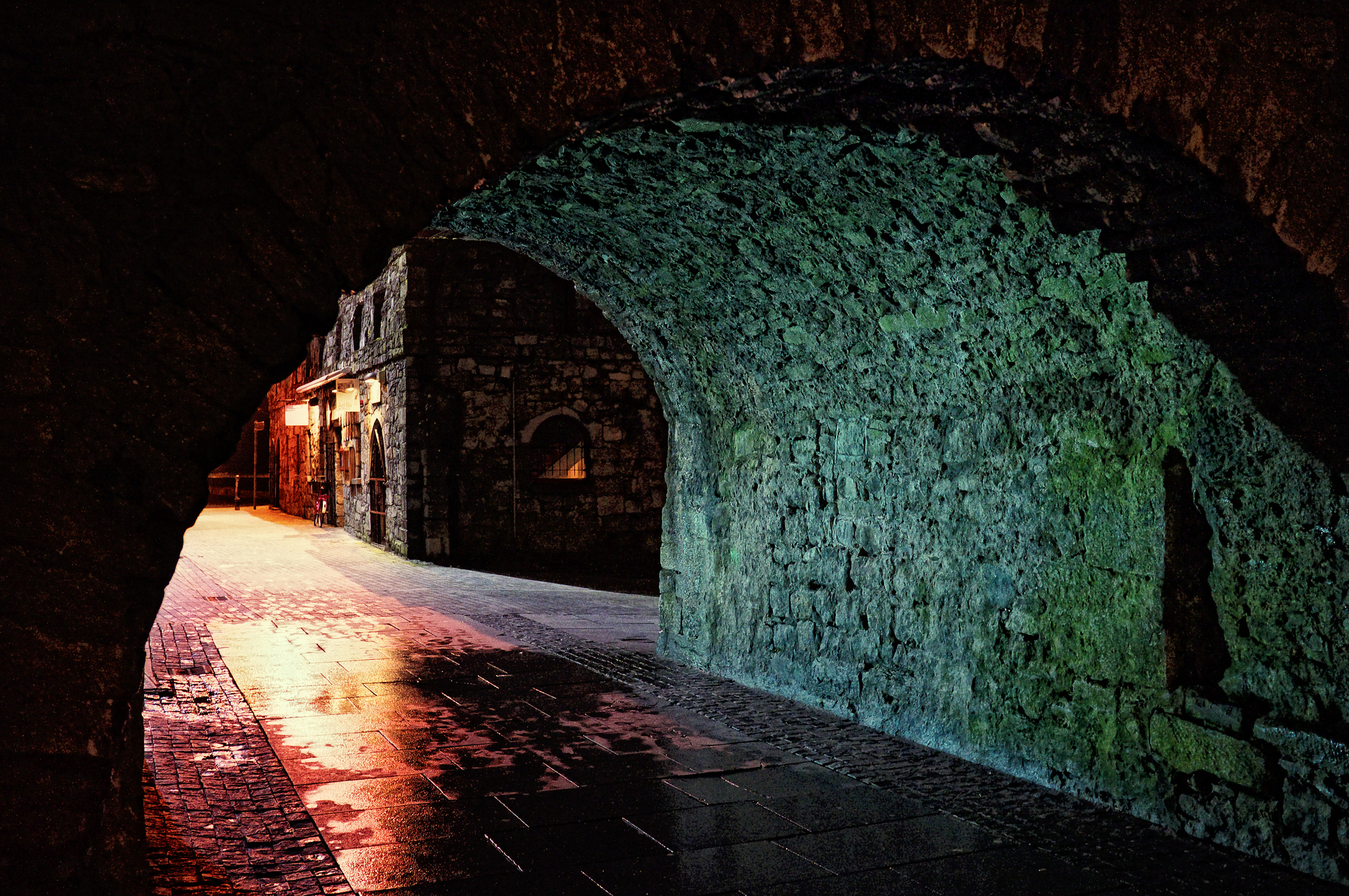 famous spanish arch galway at midnight